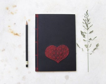 Heart. Hand Embroidered Japanese A5 Notebook. Red Love Journal. Valentine's Notebook. Black Gift for Him. Amour Notepad. Men's Book
