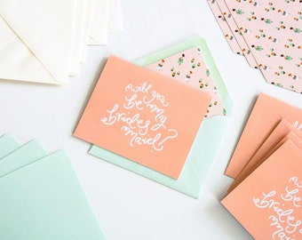 Will you be my Bridesmaid? Set of 5 cards in mint, peach, and ivory