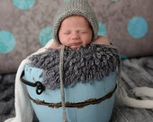 Newborn Photo Prop, Grey Knit Baby Bonnet,Grey Baby Bonnet, Baby Girl Bonnet, Baby Boy Hat, Classic Baby Bonnet, Baby Knit Hat, Grey Bonnet