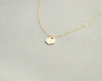 14k Gold Filled Petite Hexagon Necklace