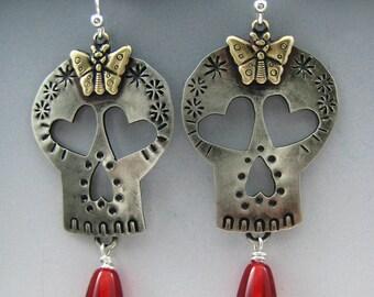 Skull Earrings, Sugar Skull Earrings, Skull Jewelry RP0468ER