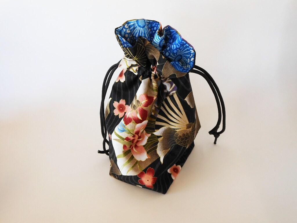 Drawstring makeup bag black koi fish design japanese for Koi fish purse
