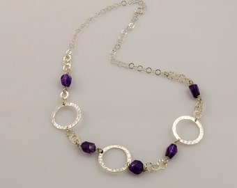 Sterling silver amethyst necklace, February birthstone necklace, silver and amethyst necklace, birthstone jewelry
