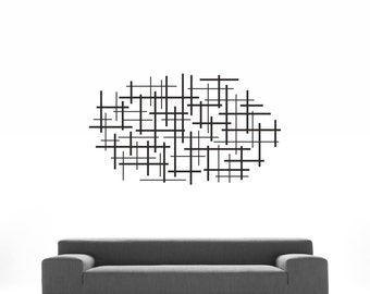 Abstract Art - lines geometric wall art - removable vinyl wall decal / sticker