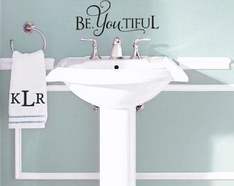 be you tiful beyoutiful wall decal beautiful quote bathroom vinyl wall decal inspiring