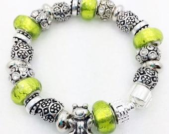Green Frog European Style Charm Bracelet