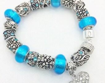 Blue Crystal Heart European Style Charm Bracelet
