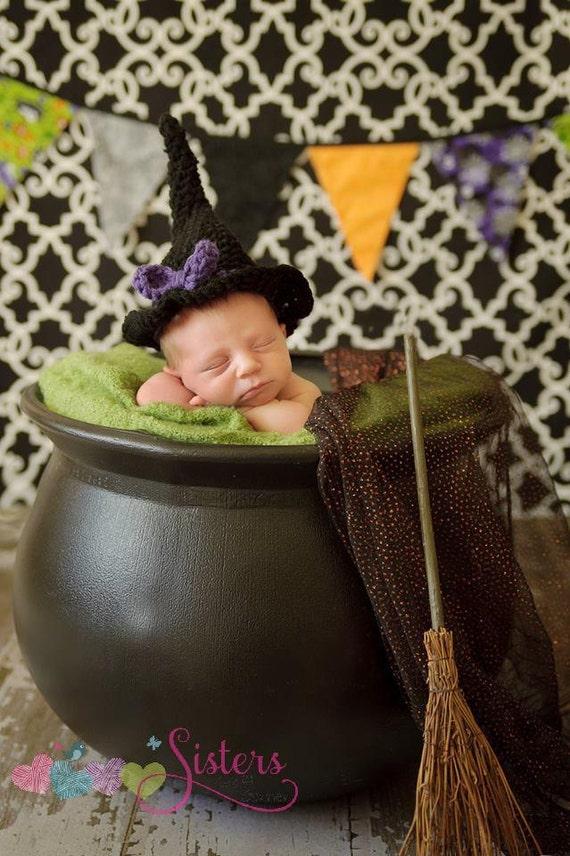 Newborn Crochet Witch Hat Pattern : Crochet Witch Hat Black Witch Hat Crochet Witch Costume
