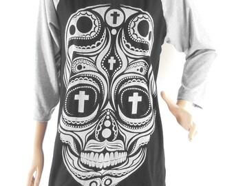 Size M :Skull Shirt Skull T shirt Graphic shirt teen shirt tumblr shirt baseball Tee Raglan Tee Long Sleeve Tshirt Women Tshirts Men Tshirts