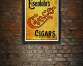 Vintage Eisenlohr's Cinco Cigars Giclee Art Print 17 x 22