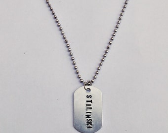 Teen Wolf Dog Tag Necklace - Hand Stamped Metal.