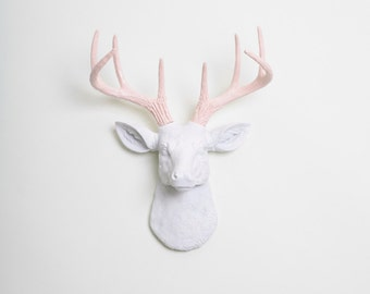 Fake Deer Head - The MINI Cupid - White W/ Cameo Pink Antlers Resin Deer Head- Stag Resin White Faux Taxidermy