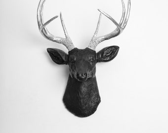 Deer Head Wall Mount  - The Sparro - Black w/Silver Antlers Resin Deer Head - Stag Head by White Faux Taxidermy - Contemporary Hanging Art