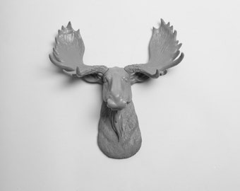 White Faux Taxidermy Mini Moose Head -The MINI Wellington - Gray Moose Head Wall Mount - Chic Hanging Wall Decor & Animal Sculptures