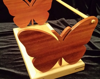 CD DVD Holder, Organizer - Mahogany Butterfly Design