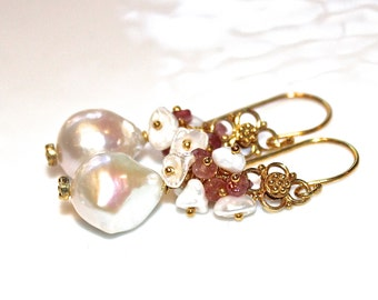 White Baroque Pearl Earrings Pink Tourmaline Earrings Wedding Earrings Big Pearl Earrings Bridal Earrings Cluster Earring Brides Jewelry