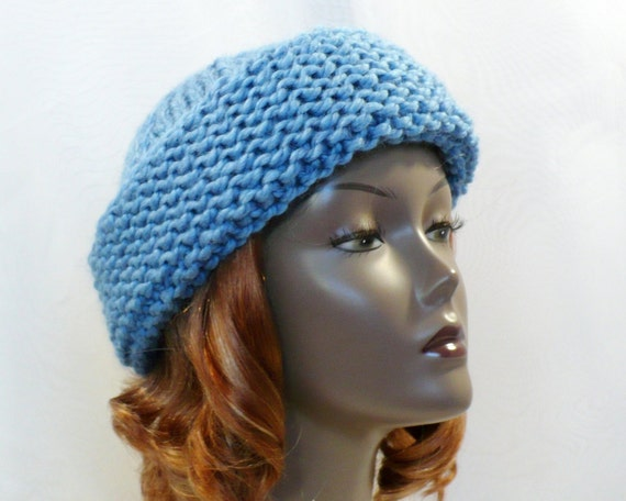 Knitting Pattern Russian Hat : Hand Knit Hat, Russian Style Hat, Baby Blue Hat, Chunky Knits, Wool Cap, Coss...