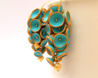 Turquoise earrings - Bell earrings -  Dangle earrings - Handmade earrings - MADE TO ORDER