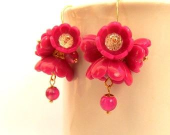 Hot Pink Flower Earrings Dangle Earrings Bridal Earrings Wedding Jewelry Bridesmaid Gift Hot Pink Jewelry Gift For Her Statement Earrings
