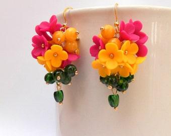 Flower Earrings, Dangle Earrings, Romantic Earrings, Colourful Earrings, Flower Jewelry, Handmade Earrings, Spring Jewelry, MADE TO ORDER