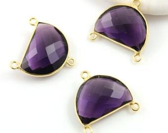 Amethyst, Bezel Half Moon Shape Connector Gemstone Gold Vermeil, 23x15mm, 1 Piece, (BZC9041/AM/CNT)