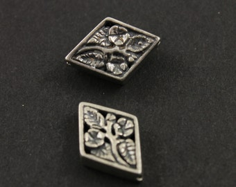 Bali Sterling Silver, Diamond Shaped Bead w/ Intricate Hand Carving on Both Sides, 1 Piece, Sold Individually (BA2027)