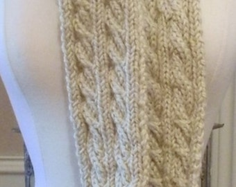 Reversible Alpaca Cable Knit Scarf