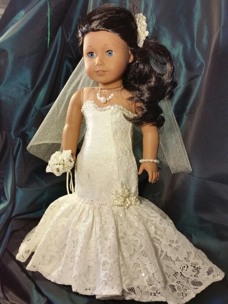Ivory lace fit and flair bride doll dress for american girl for American girl wedding dress