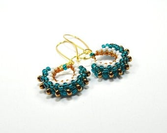 Seed bead earrings. Beaded earrings. Seed bead jewelry. Beadwork earrings. Bohemian jewelry. Handmade gift for her.