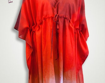 Canada Day red tunic, red and white cotton caftan beachwear, cotton silk maternity clothing, plus size tunic, cover up swim kaftan cotton
