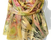Bamboo Silk Scarf. Peach Yellow Shawl. Hand Painted Scarf. Woman Anniversary Birthday Gift. Authentic Painting 18x71in MADE to ORDER