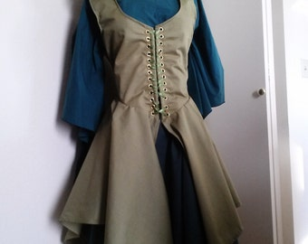 Custom Irish Dress with Hood, Front Lace, Hooded, Elven