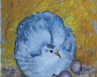 Original Acrylic Bird Painting on Canvas of Mother Sitting on Eggs