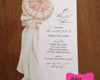 Elegant & Beautiful BRIDAL SHOWER Invitations with Umbrella and Dress!- All wording, fonts, and font colors Customized