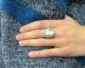 Large Vintage Filigree Carved Shell Cameo Ring 14k White Gold 585 Sweet Promise