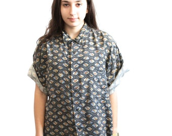 90s baroque VERSACE style FLOWING button down shirt