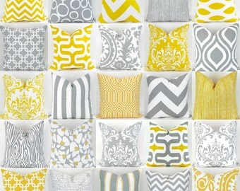 Gray & Yellow Pillow Covers -22x22 inch- Mix/Match patterns, cushion sham euro throw bold modern geometric grey white custom Premier Prints