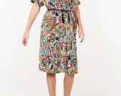 Vintage midi shirt dress color block 70s dress woman's size medium / large