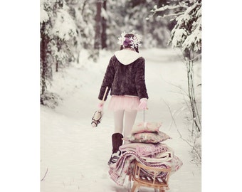 Fairy Tale Postcard, Winter Photography, Pink Girl, Vintage Sledge, Pastel, Winter Art Print