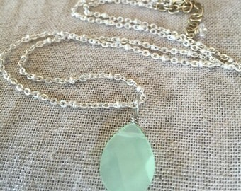 Spring is Sprouting:  Mint Green Faceted Glass Droplet pendant on Matte Silver Satellite Ball Chain Necklace