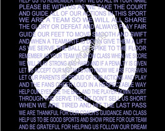 The Volleyball Prayer Personalized with Volleyball, Senior night, Sports banquet, Volleyball print, Volleyball poster prayer