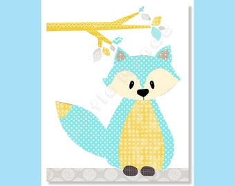 BABY BOY NURSERY Prints, Fox Nursery Print, Aqua Nursery Prints, Yellow And Aqua, Woodland, Zoo, Forest, Toddler Decor, Kids Art, Bright