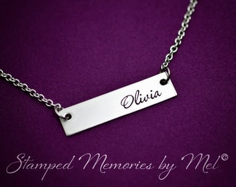 Name Bar - Hand Stamped Necklace - Hand Stamped Mommy Jewelry - Stainless Steel -  Personalized Mother, Grandmother Jewelry - Classic Design