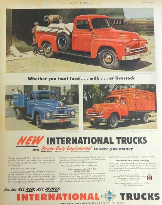 Items similar to international harvester truck ad 1950 for International harvester wall decor
