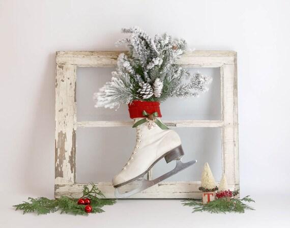 d coration de no l patin patin glace blanc vintage vert. Black Bedroom Furniture Sets. Home Design Ideas