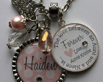 """Personalized Niece GIFT, key chain """"The love between an aunt and a niece is forever"""" sister cousin polka dot print rhinestone heart charm"""