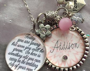 Personalized FLOWER GIRL necklace, children's jewelry, wedding flower girl gift bridal accessories pendant charm necklace quote necklace