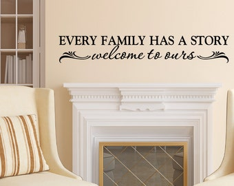 Every Family has a story Welcome to ours, Family photo wall decal, Foyer, living room, feature wall,  vinyl lettering, entryway HH2093