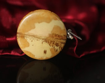 Early 1900s Atlantic City Souvenir Tape Measure with Celluloid Photos of Beach Scenes