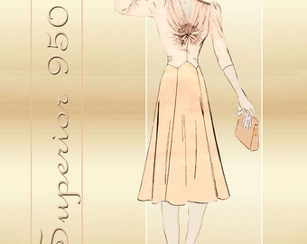 Superior 9501 1930s Vintage Dress Pattern One Piece Dress with Sophisticated Angular Bodice Gathers Bust 32